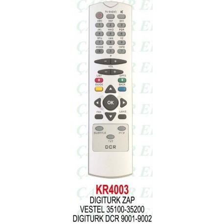 DIGITURK ZAP DCR 9001-9002 VESTEL 35100 UYDU KUMANDA KR4003