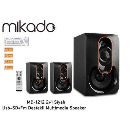 MIKADO MD-1212 2+1 SD USB ve Radyolu Siyah Uzaktan Kumandalı Hoparlör