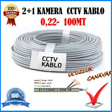 Güvenlik Kamera Kablosu 2+1 cctv 100 Metre